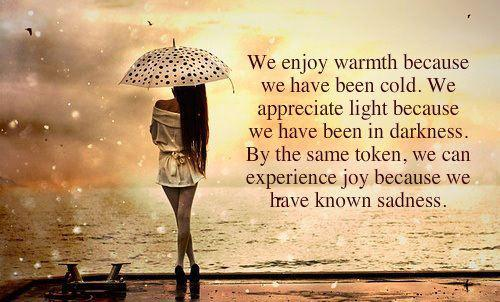 We enjoy warmth because we have been cold...We appreciate light because we have been in darkness...By the same token, we can experience joy because we have known sadness...